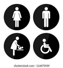 Black Circle Toilet Sign with Black Circle Background, Man Sign, Women Sign, Baby Changing Sign, Handicap Sign