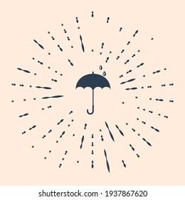 Black Classic elegant opened umbrella icon isolated on beige background. Rain protection symbol. Abstract circle random dots