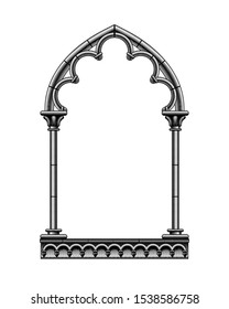 Black classic gothic architectural decorative frame isolated on white. Vintage engraving stylized drawing