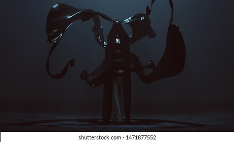 Black Cloaked Demon Futuristic Haute Couture Dress and floating Fabric wave Abstract Demon 3d illustration 3d render