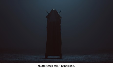 Black Cloaked Futuristic Abstract Demon Assassin with 2 Swords 3d illustration 3d render