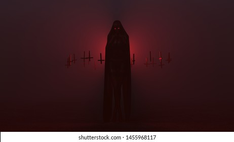 Black Cloaked Seductive Vampire Devil Wrapped in a Futuristic Haute Couture Dress and Upside Down Floating Crosses Abstract Demon in a Foggy Void 3d illustration 3d render