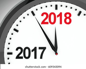 Black clock with 2017-2018 change represents coming new year 2018, three-dimensional rendering, 3D illustration