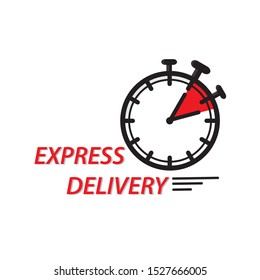 Black clock with limited time and express delivery letters on white background