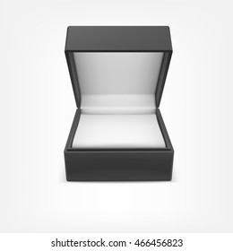 Black closed box for jewelry and gifts isolated on white background