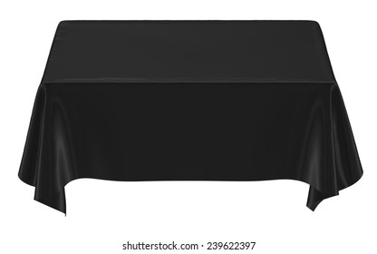 Black cloth on the table, image isolated