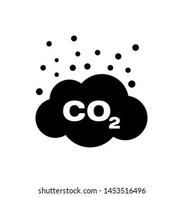 Black CO2 emissions in cloud icon isolated. Carbon dioxide formula symbol, smog pollution concept, environment concept