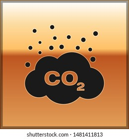 Black CO2 emissions in cloud icon isolated on gold background. Carbon dioxide formula symbol, smog pollution concept, environment concept