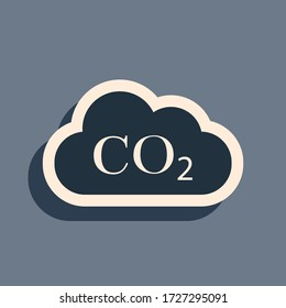 Black CO2 emissions in cloud icon isolated on grey background. Carbon dioxide formula symbol, smog pollution concept, environment concept, combustion products. Long shadow style