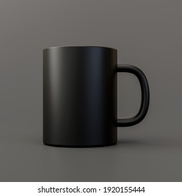 Black coffee cup or empty mug for drink isolated on gray background with blank ceramic porcelain mockup template. 3D rendering.