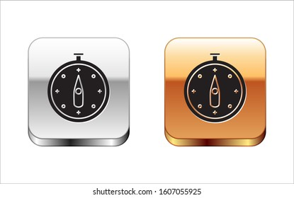Black Compass icon isolated on white background. Windrose navigation symbol. Wind rose sign. Silver-gold square button.