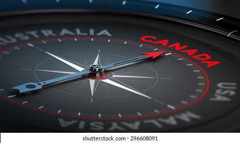 Black compass with needle pointing the country Canada. Conceptual illustration part one of the three best immigration countries.