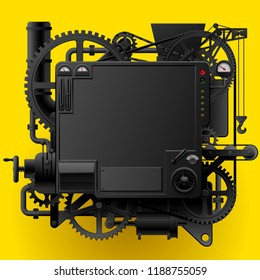 Black complex fantastic machine with gears, levers, pipes on yellow background. Steampunk style template, frame, poster and techno background