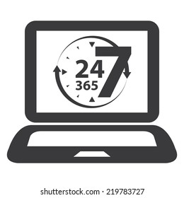 Black Computer Laptop With 24 7 365 With Clock and Arrow on Screen Sign, Icon or Label Isolated on White Background