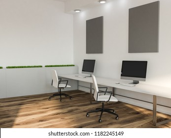 Black computer screens on white office or computer lab tables with gray mock up pictures in the background. Flowerbeds 3d rendering