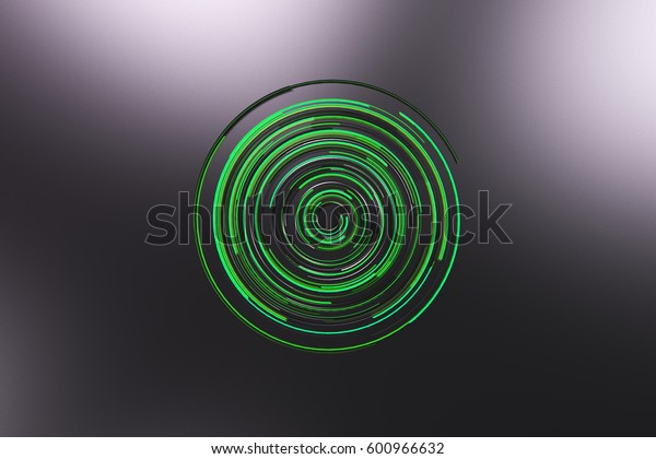 Black concentric spiral with green glowing elements on black background. Abstract geometric background with glowing lines. 3D rendering illustration
