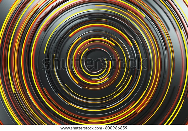 Black concentric spiral with orange glowing elements on black background. Abstract geometric background with glowing lines. 3D rendering illustration