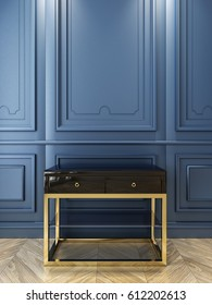 Black console with gold in classic blue interior. 3d render illustration.