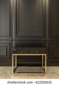 Black console with gold in classic black interior. 3d render illustration.