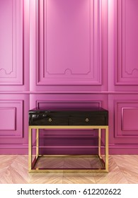 Black console with gold in classic purple interior. 3d render illustration.