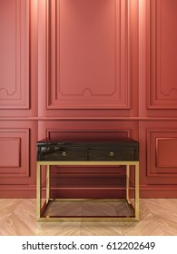 Black console with gold in classic red interior. 3d render illustration.