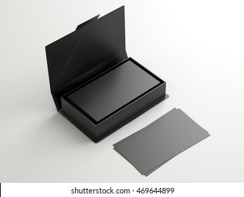 Black contact business cards in the open cardboard box. Clean mockup template with free copy space for design or advertising. On white background. 3d illustration