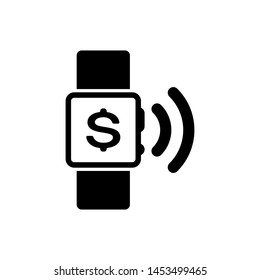 Black Contactless payment icon isolated on white background. Smartwatch with nfc technology making wireless contactless transactions