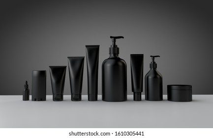 Black cosmetic bottles and tubes for male grooming. 3D Rendering