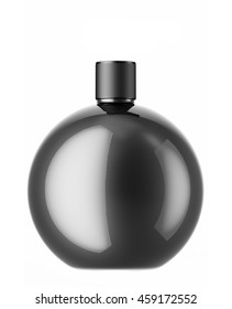 Black cosmetic or perfume bottle isolated on white background. 3D Mock up for your design.