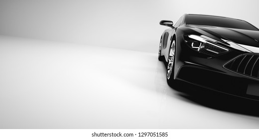 Black coupe car in a close-up. Transportation, automobile, modern generic design. 3D illustration.