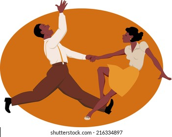 Black couple dancing jitterbug
