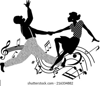 Black couple dancing rock and roll in black and white