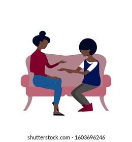 Black couple of two women are talking sitting on sofa. Flat style stock illustration.