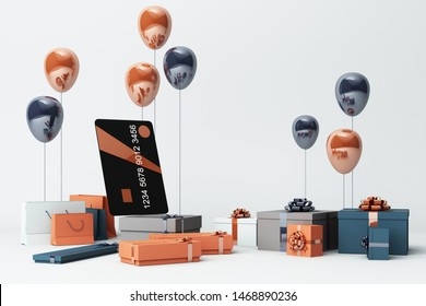 Black credit card surrounding by a lot of giftboxs and balloons. 3d rendering