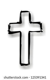 black cross with grey shadow