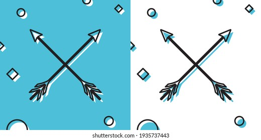 Black Crossed arrows icon isolated on blue and white background. Random dynamic shapes