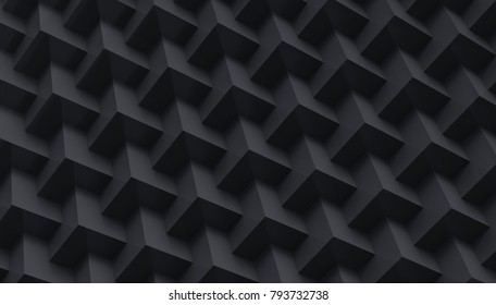 Black cube background, embed cubes geometric pattern in 3d render