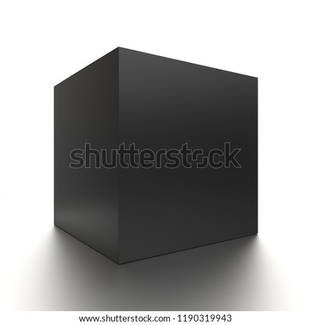 1500488ccf Black cube blank box from front side angle. 3D illustration isolated on  white background.