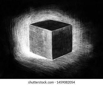 Black cube hand drawn on black paper