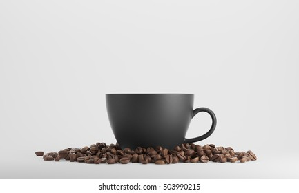 Black cup of coffee surrounded by coffee beans and standing against white background. 3d rendering. Mock up