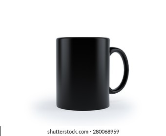 black cup on a white background