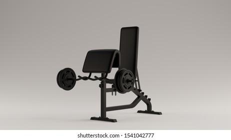 Black Curl Weight Bench 3d illustration 3d render