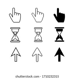 Black Cursors icons ,sig,symbol ,pictogram set Pixel cursors ,mouse hand arrow hourglass isolated on a white background in outline or thin line style
