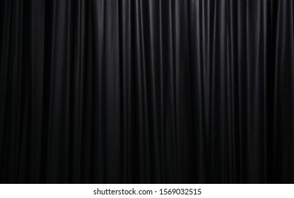 Black curtain from the Cinema, theater, opera house. Vector illustration