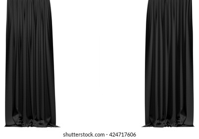 Black curtain isolated on white background. Include clipping path. 3D illustration