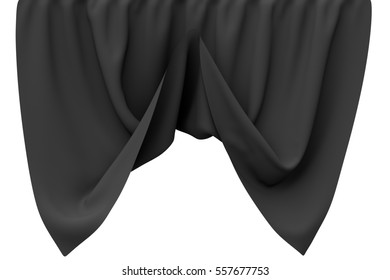 Black curtain isolated on white background. Include clipping path. 3d render