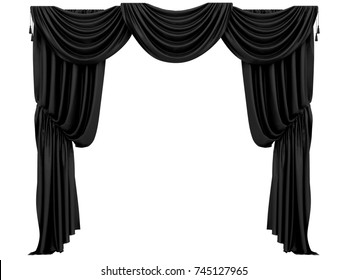 black curtain of a theater or a opera opening on a white background 3d rendering