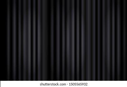 Black Curtains Background, Stage Illumination Concept, Monochrome Backdrop Template.