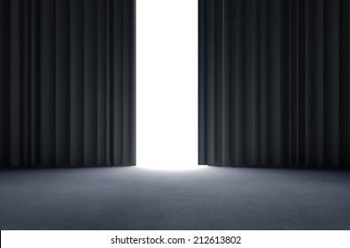 black curtains and concrete floor