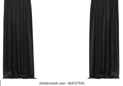 Black curtains isolated on white background. Include clipping path. 3D illustration